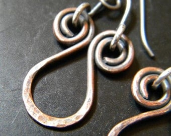 Hammered Copper and Sterling Earrings