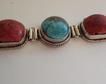 Turquoise, Coral, Lapis and Sterling Silver Bracelet