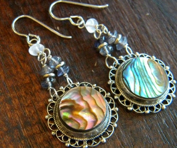 Vintage Mexico Filigree Upcycled Abalone Earrings