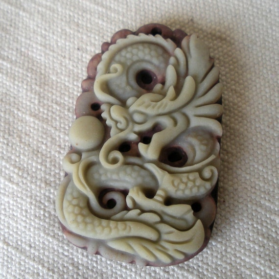 Dragon and Pearl Carved Stone Pendant Year of the Dragon