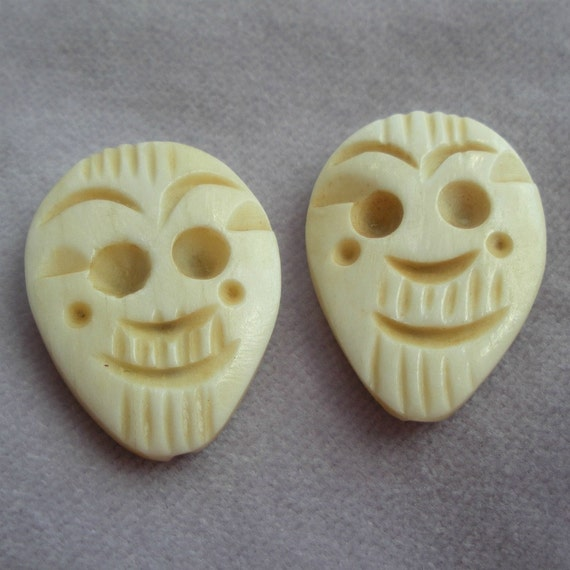 Carved Bone Mask Face Beads