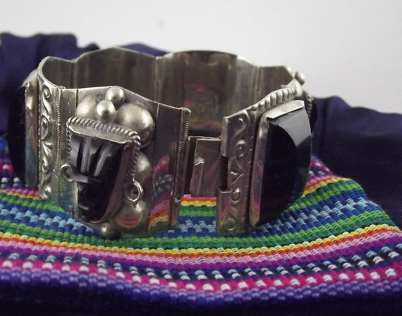 Vintage Warrior Mask Taxco Bracelet