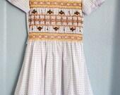 RESERVE vintage tween girl white/brown polka dot smocked dress
