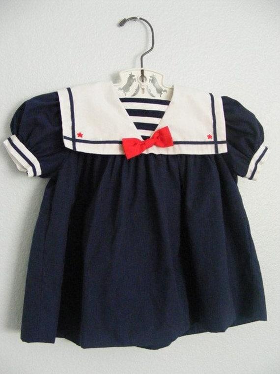 SALE vintage baby girl navy blue sailor dress sz 6mo