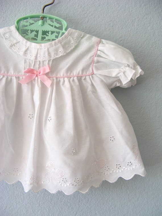 baby girl pink and white Vintage outfit. sz 3-6mo