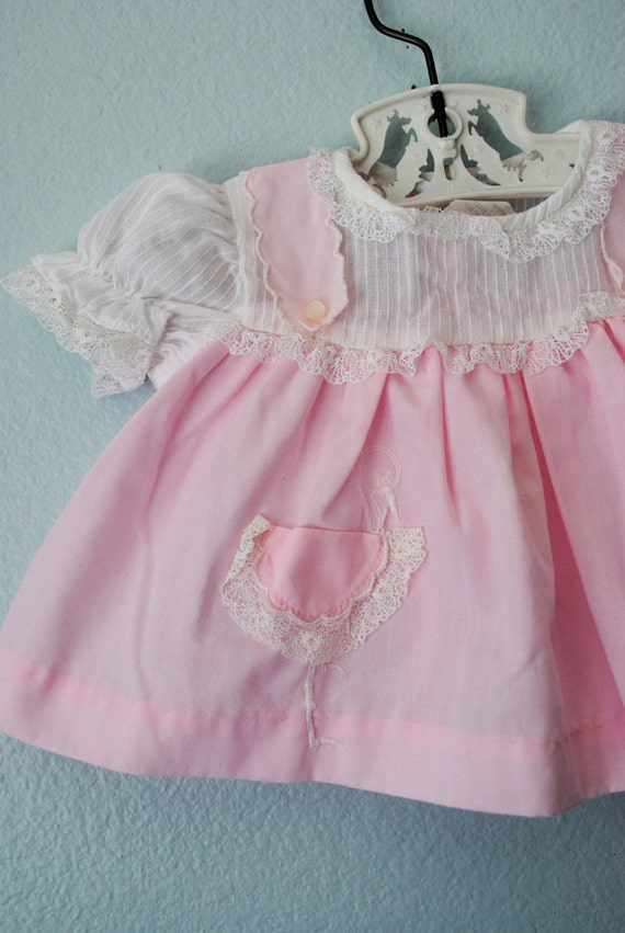 vintage newborn baby girl pink stork dress