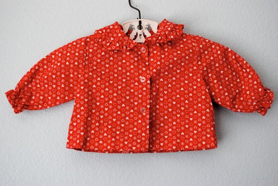 vintage baby girl red heart blouse