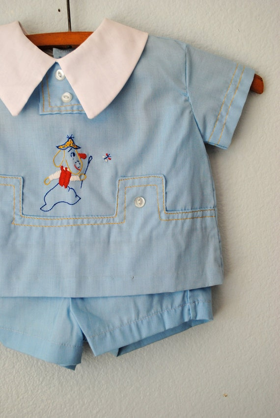vintage baby boy puppy dog outfit