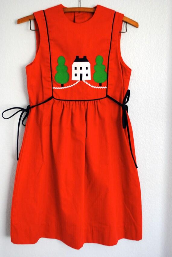 RESERVE Vintage tween girl red house dress
