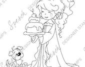 Princess with cake Digital Stamp