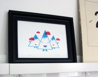 Happy Mountains Screenprint (blue and red ink)