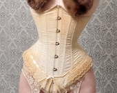"Tea stained underbust corset 19"" waist, twill, lace, ribbons, by Jupiter Moon 3"