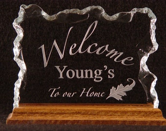 Glass Family Name Sign Plaque Makes Perfect Gift