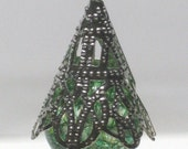 PIF Green Cracked Bead SIlver Bead Cap Cell Phone Charm