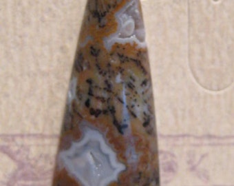 Cheetah Agate cab  with Druzy .... 38 x 15 x 6mm  thick........   PWdc38/15-6