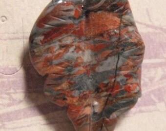 Carved Jasper Leaf pendant bead .... 35 x 25 x 6mm ..  cLB1867