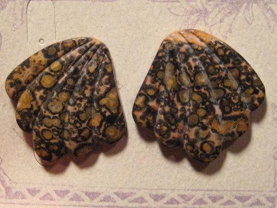 Carved Leopard Skin Jasper cabs..COOL....  34 x 34 x 4.8 mm    ..... a4856