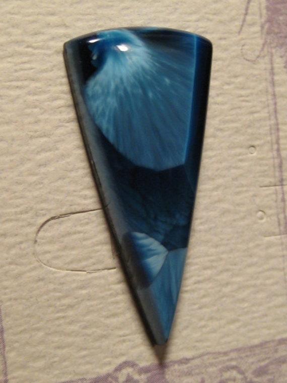 VICTORIA STONE Chatoyant Indigo Blue  cab .. 43  x 20 x 6mm ..a4904