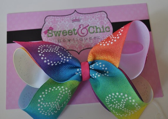 LAST ONE AVAILABLE-- Peace Signs, Rainbow Ombre-  Boutique Hair Bow