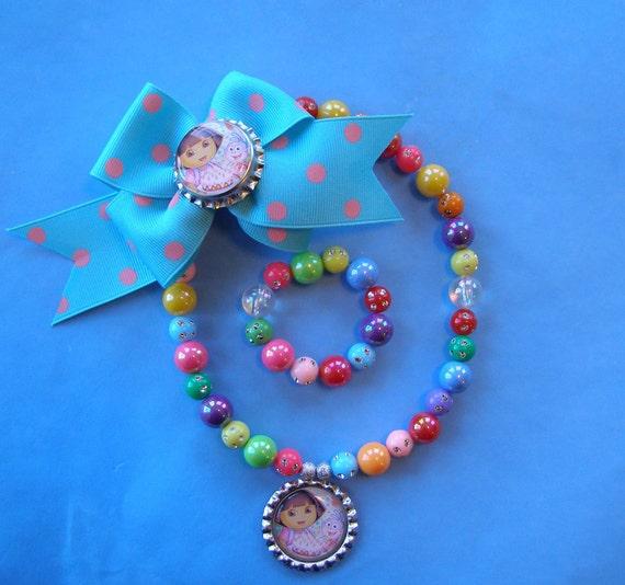 Dora The Explorer 3 Piece Birthday Party Hairbow Stretch Necklace and Bracelet Set