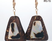 Brown Coconut Shell earrings with Black Lip Oyster Shell with 14k Gold filled shell lever backs