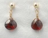 Love and Devotion earrings (Red Garnet faceted teardrops, 14K Gold Filled post)