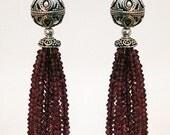 Ruby Red Garnet Natalie Portman Oscar Inspired tassel earrings