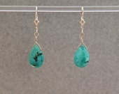 Spirit Quest turquoise drop earrings (Turquoise teardrops, Sterling Silver findings and lever backs)