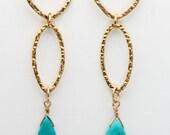 Spirit Quest earrings (Turquoise teardrops, 14K Gold Filled hoops)