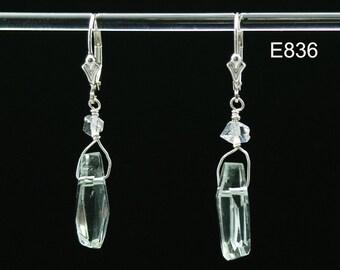 Green Amethyst & Herkimer Diamonds Healing Vibration earrings in Sterling Silver
