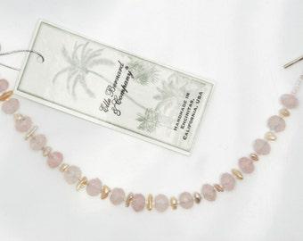Soul of Love bracelet (Rose Quartz, Keshi Pearls, glass seed beads, Sterling Silver heart clasp)
