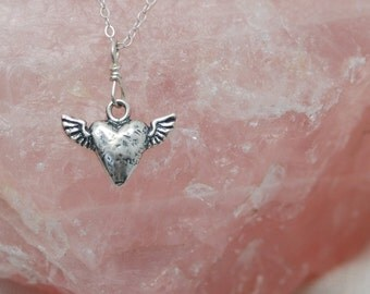 Heart with Wings necklace / Heart necklace Silver / Heart Chakra necklace / Heart Charm necklace / Heart Jewelry / Sacred Heart necklace