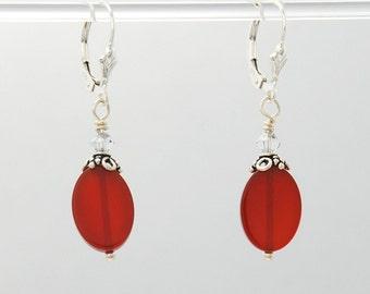 Lucky Carnelian 1 Earrings (Carnelian, clear Swarovski Crystal, Sterling Silver beads, Sterling Silver lever backs and findings)