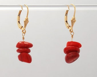 Red Coral stack Earrings (Red Coral beads, 14k Gold Filled fleur de lis lever backs and findings)