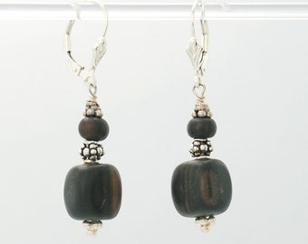 Tiger Ebony wood, Sterling Silver earrings (Tiger Ebony wood, Sterling Silver beads, Sterling Silver lever backs and beads)
