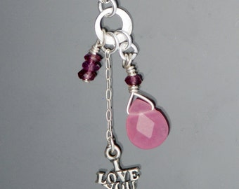 Garnet I LOVE YOU necklace: Garnet and Pink Quartz with Sterling Silver Ily charm and chain