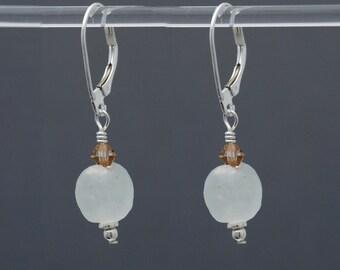 White Clear Krobo African Glass earrings in Sterling Silver