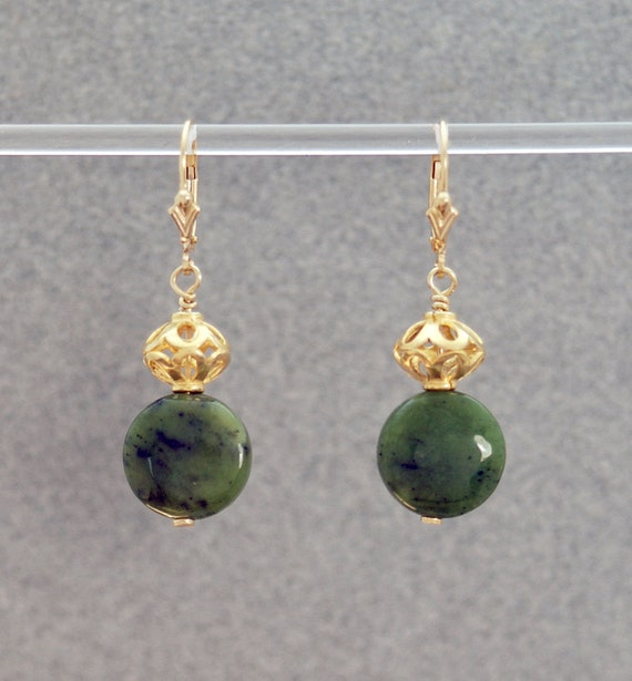 Lucky Dreams 2 Earrings (Green Jade coin beads, 14K Gold Filled filigree and lever backs)