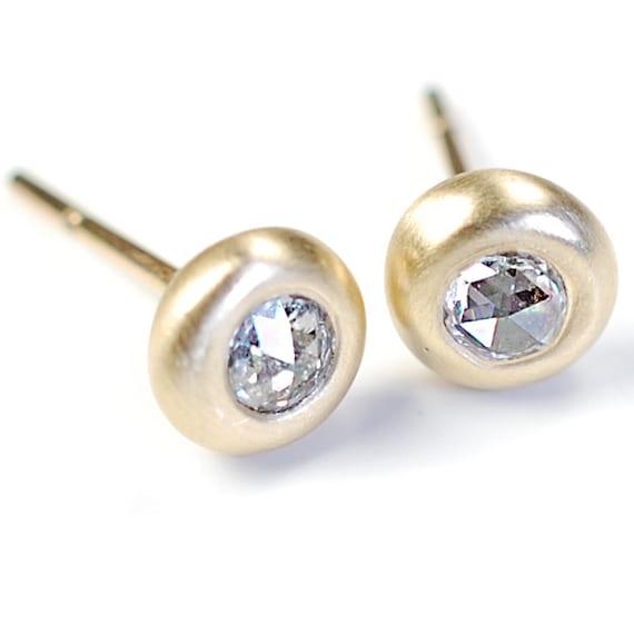 Rose Cut Diamond Stud Earrings, Gold Satin Bezel, Nixin