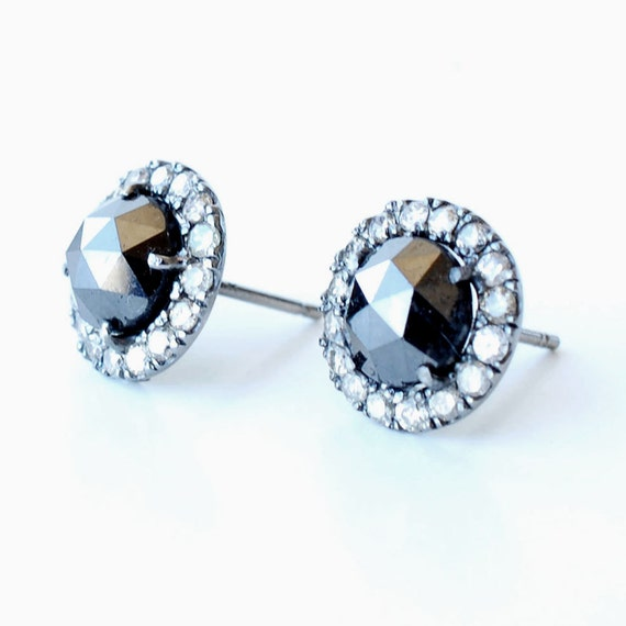 Black Diamond Earrings, Rose Rose Cut Black Diamond Earrings, Diamond Studs, Black Diamond Studs, Pave, Antique Finish Earrings, Nixin