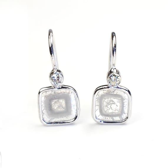 R E S E R V E D for R O B B Y N Diamond Slice Earrings, Diamond Earrings, Diamond White Gold Earrings, Drop Earrings