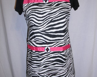 Zebra Black and White Hot Pink Apron