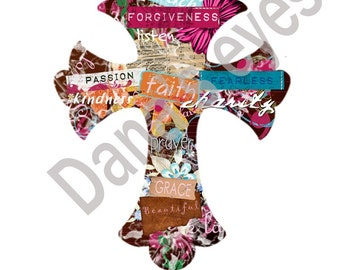 Faithful Jesus Cross- Graphic Design collage available in 8x10 or requested size digital download for craft supplies