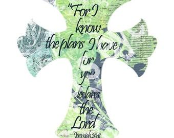 Jesus Christian Graphic cross printable digital art 8x10 Jeremiah 29:11