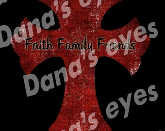 Christian Graphic art printable cross faith family friends for crafts Digital download
