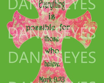 Bible verse Christian cross from book of Mark for craft supplies and printable download