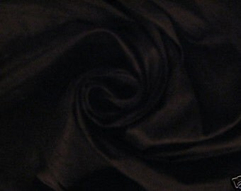 "Midnight Black 100% dupioni silk fabric yardage By the Yard 45"" wide"