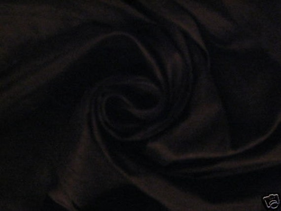 "Midnight Black 100% dupioni silk fabric yardage By the Yard 45"" wide"