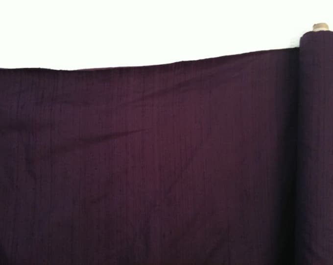"Eggplant Purple 100% dupioni silk fabric yardage By the Yard 45"" wide"
