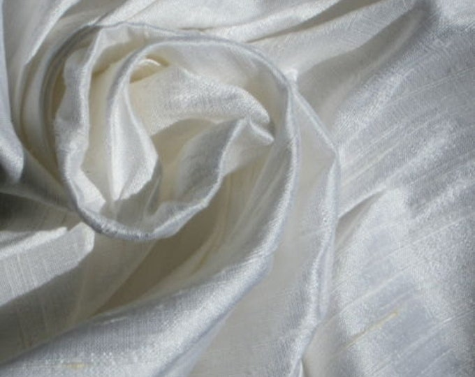 "White 100% Dupioni Silk Fabric Bridal Wholesale Roll/ Bolt 55"" wide"